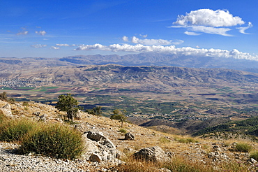 View over Bekaa Valley with Mount Hermon, Lebanon, Middle East, West Asia