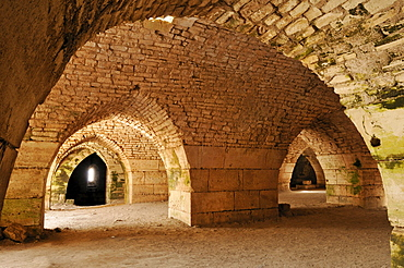 Vaulted stables in the Crusader fortress Crac, Krak des Chavaliers, UNESCO World Heritage Site, Qalaat al Husn, Hisn, Syria, Middle East, West Asia
