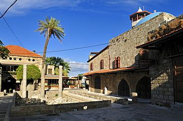 Old mosque and antique coloumns at Byblos, Unesco World Heritage Site, Jbail, Jbeil, Lebanon, Middle east, West Asia