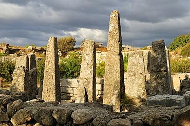 Antique Obelisk temple, archeological site of Byblos, Unesco World Heritage Site, Jbail, Lebanon, Middle East, West Asia