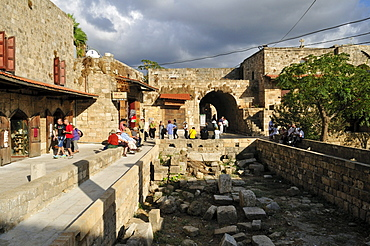 Tourists in the historic district of Byblos, Unesco World Heritage Site, Jbail, Lebanon, Middle East, West Asia