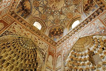 Painted interior of Abdul Aziz Chan Madrassah, Bukhara, Buchara, Silk Road, Unesco World Heritage Site, Uzbekistan, Central Asia