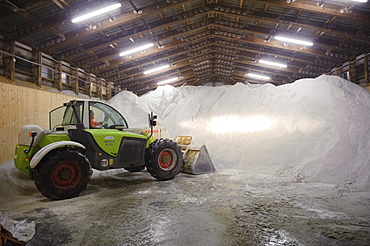 Winter services vehicles are loaded with road salt at the salt storage, motorway junction Stuttgart, Baden-Wuerttemberg, Germany, Europe