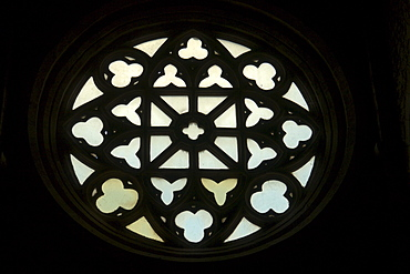 Rose window of the church Santa Maria Maggiore, early 14th century, seen from inside, peculiar for the decoration with an inscribed square, Alatri, province of Frosinone, Latium, Italy, Europe