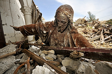 Statue of Jesus Christ toppled from the roof in the rubble of the church Sacre Coeur destroyed in an earthquake, Turgeau district, Port-au-Prince, Haiti, Caribbean, Central America