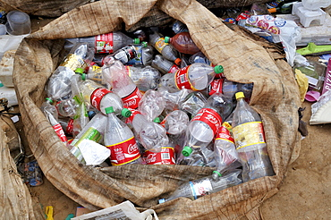 Separated waste for recycling of recyclable materials, plastic beverage bottles, Ceilandia, satellite town of Brasilia, Distrito Federal, Brazil, South America