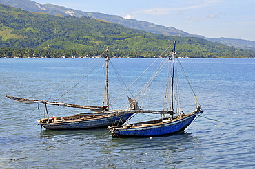 Fishing boats near a fishing village on the Caribbean coast, Petit Goave, Haiti, Caribbean, Central America