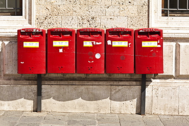 Red letter boxes, Tuscany, Italy, Europe