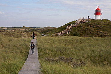 Dune landscape with beacon or lighthouse near Norddorf, Amrum Island, North Sea, North Friesland, Germany, Europe