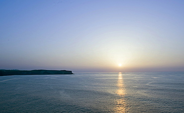 Sunset on the Punta del Dichoso peninsula, Suances, Costa Verde, Cantabria, Northern Spain, Spain, Europe