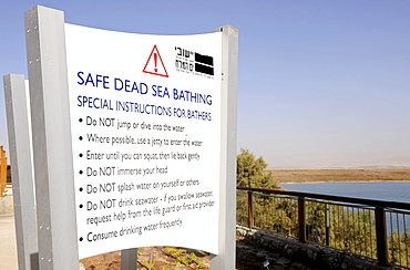 "Sign ""Safe Dead Sea bathing"", Kalia Beach, Dead Sea, Israel, Middle East, Southwest Asia"