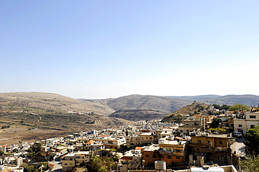 """Druze village of Majdal Shams, middle left the """"Shouting Hill"""" from where the people from the Syrian side shout over to their relatives in the Israeli-occupied village, Golan Heights, Mount Hermon, Israel, Syria, Middle East, Southwest Asia"""