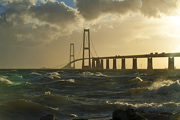 Store Belt, Great Belt Bridge in heavy surf, Nyborg, Korsor, South Denmark, Denmark, Europe