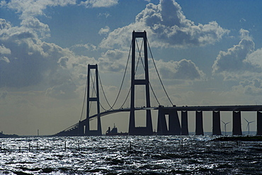 Store Belt, Great Belt Bridge, Nyborg, Korsor, South Denmark, Denmark, Europe