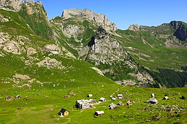 Alpstein hiking region, view down to Meglisalp Mountain Inn, Alpstein, Appenzell Innerrhoden, Switzerland, Europe