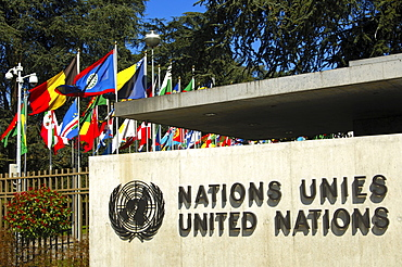 Entrance to the European headquarters of the United Nations, UN, Palais des Nations, Geneva, Switzerland, Europe