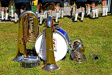 Musical instruments, procession through town with many participating clubs, Ascholding, municipality of Dietramszell, Bavaria, Germany, Europe