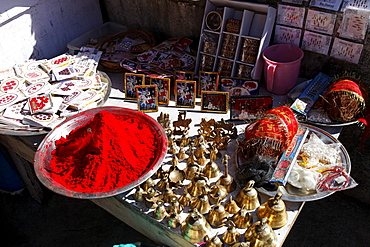 Devotional items on a stand, Golu Devta Temple or Golu Devata Temple, Temple of the Bells, a temple for the God Golu, Ghorakhal, Uttarakhand, North India, India, Asia