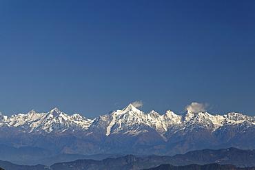 Himalaya Mountains seen from Jhandi Devi, Nanda Kot Mountain, 6861m, Uttarakhand, North India, India, Asia