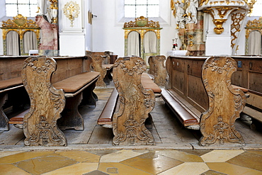 Elaborately carved pews in the Visitationists convent Kloster Dietramszell, Dietramszell, Upper Bavaria, Bavaria, Germany, Europe