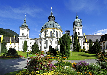 Ettal Abbey, monastery church and courtyard, Upper Bavaria, Bavaria, Germany, Europe