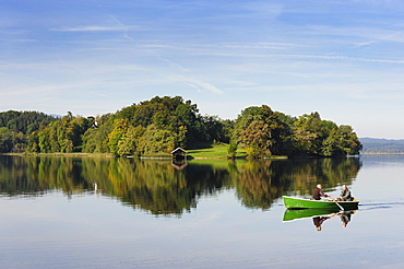 Woerth island on Staffelsee lake near Seehausen, Murnau, Upper Bavaria, Bavaria, Germany, Europe