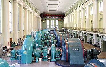 Turbine hall of Walchensee Hydroelectric Power Station, Kochel, Upper Bavaria, Bavaria, Germany, Europe