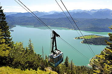 Herzogstandbahn cable car, Lake Walchen, district of Bad Toelz-Wolfratshausen, Upper Bavaria, Bavaria, Germany, Europe