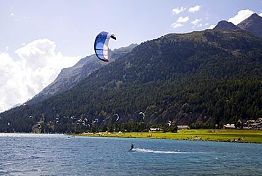 Kite surfer on Lake Sils, Engadin valley, Switzerland, Europe