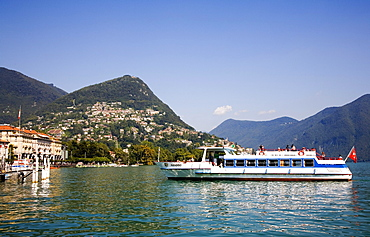 Excursion boat on Lake Lugano, Lugano, canton Ticino, Switzerland, Europe