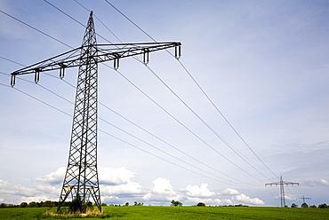 Electricity pylons, Paehl, Upper Bavaria, Bavaria, Germany, Europe