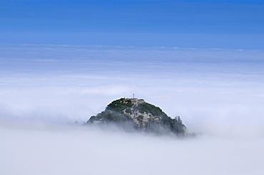 Mt. Gedererwand with summit cross in rising high fog, Chiemgau Alps, Upper Bavaria, Bavaria, Germany, Europe