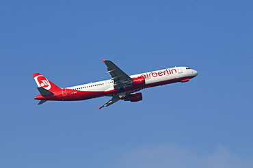 Airbus A321 of airline Airberlin after take-off with landing gear doors closing