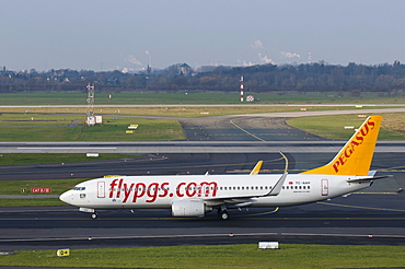 Pegasus Airlines passenger aircraft on the runway, Dusseldorf International Airport, North Rhine-Westphalia, Germany, Europe