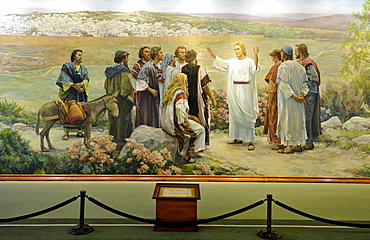 Go Ye Therefore, Jesus Christ and 11 Apostles, mural by Grant Romney Clawson after Harry Anderson, Lobby, Administration Building, office building, Temple of The Church of Jesus Christ of Latter-day Saints, Mormon Church, Temple Square, Salt Lake City, Ut