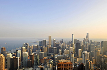 View of the Willis Tower, formerly named Sears Tower and renamed in 2009, Trump International Hotel and Tower, the Two Prudential Plaza, the Aon Center, the Tribune Tower and the Wrigley Building, Chicago, Illinois, United States of America, USA