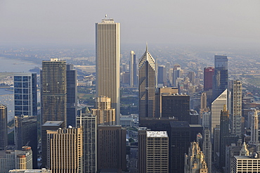 View of the Two Prudential Plaza, the Aon Center, the Tribune Tower and the Wrigley Building, Chicago, Illinois, United States of America, USA