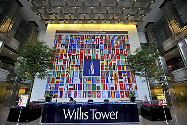 Interior view, entrance area of the Willis Tower, formerly named Sears Tower and renamed in 2009, Chicago, Illinois, United States of America, USA