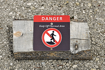 Prohibition sign, geothermal springs, geysers, Yellowstone National Park, Wyoming, United States of America, USA