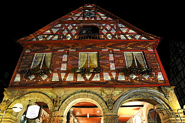 Waiblingen Leuchtet, illumination, historical town hall, market place, Waiblingen, Rems-Murr-Kreis district, Baden-Wuerttemberg, Germany, Europe