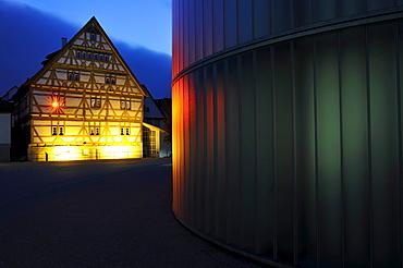 Waiblingen Leuchtet, illumination, museum, Galerie Stihl, historic old town, half-timbered houses, Waiblingen, Rems-Murr-Kreis district, Baden-Wuerttemberg, Germany, Europe