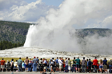 Tourists in front of an Old Faithful geyser eruption, Upper Geyser Basin, geothermal springs in Yellowstone National Park, Wyoming, United States of America, USA