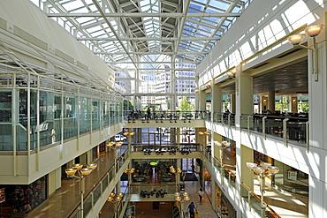 Interior, shopping centre, Monorail station, Westlake Center, Westlake Plaza, Seattle, Washington, United States of America, USA