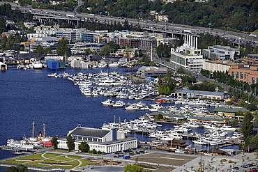 View from Space Needle to the east, marina, Union Lake, Seattle, Washington, United States of America, USA