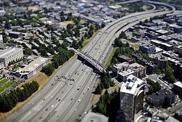 View towards the southeast, Interstate 5, Seattle, Washington, United States of America, USA