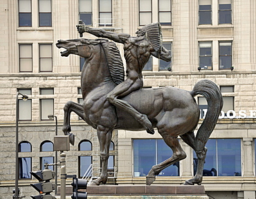 Bronze statue of an Indian warrior, The Native American, Spearman and the Bowman, designed by Ivan Mestrovic at the entrance of the Congress Parkway, Chicago, Illinois, United States of America, USA