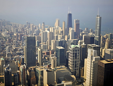 Miniaturization effect, looking towards John Hancock Center, Trump International Hotel and Tower, and 900 North Michigan skyscrapers, Chicago, Illinois, United States of America, USA