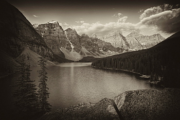 Black and white, Sepia Moraine Lake in the morning, Wenkchemna Range, Valley of the Ten Peaks, Banff National Park, Rocky Mountains, Alberta, Canada