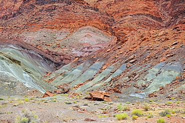 Green coloured rocks, discoloration caused by copper oxide, Marble Canyon, Arizona, USA