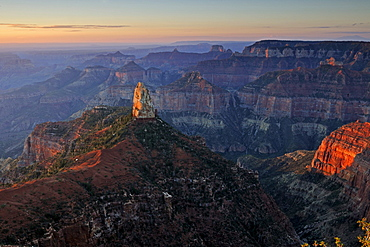 Sunrise at Point Imperial, Mount Hayden, Grand Canyon North Rim, Arizona, USA